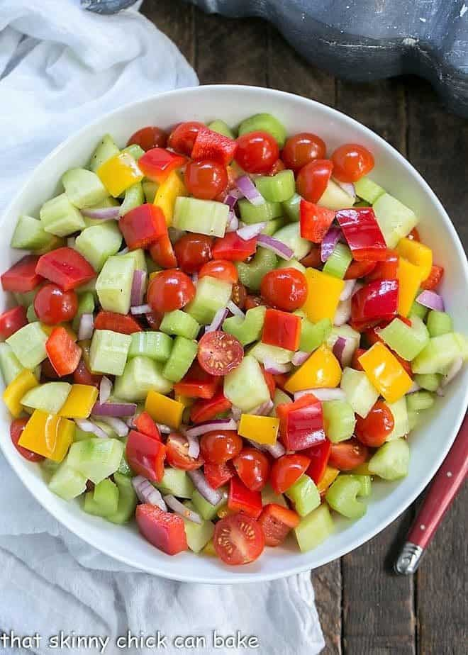 Overhead view of Marinated Vegetable Salad in a white salad bowl