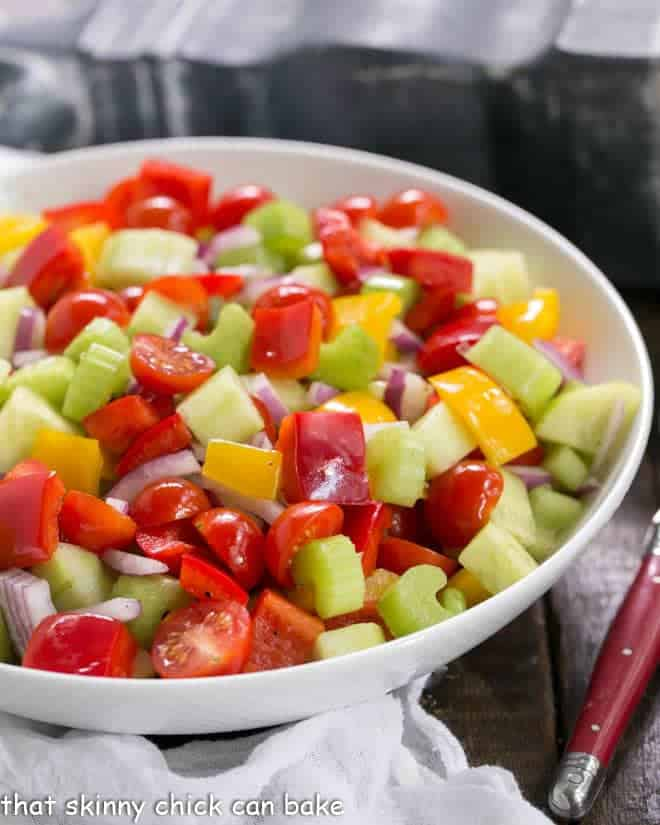 Marinated Vegetable Salad in a white serving bowl