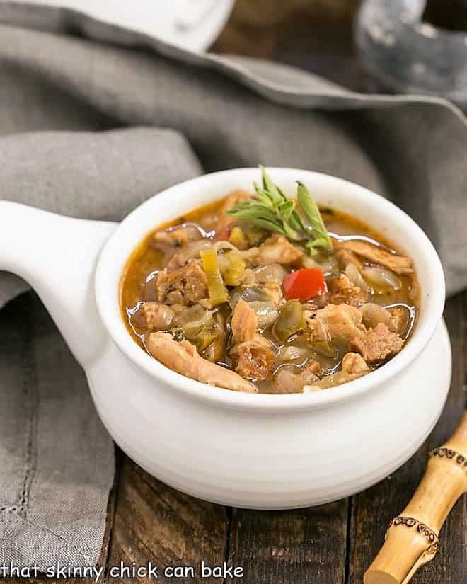 Sausage and Chicken Gumbo in a ceramic soup bowl