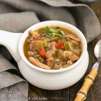 Sausage and Chicken Gumbo -in a ceramic soup bowl