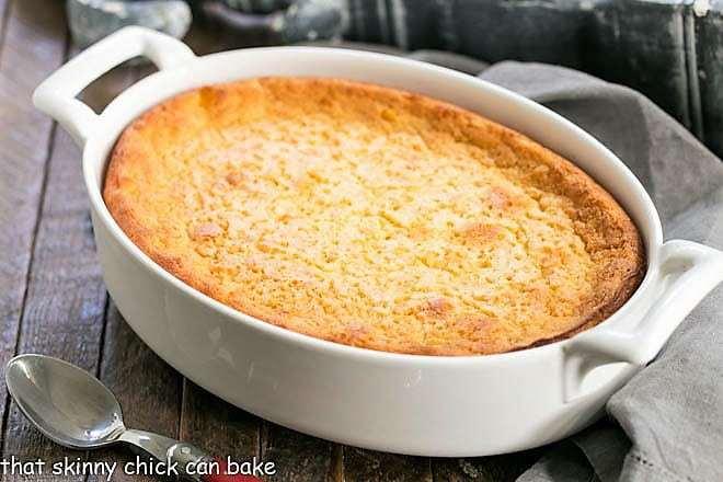 Easy Sweet Corn Casserole in an oval baking dish