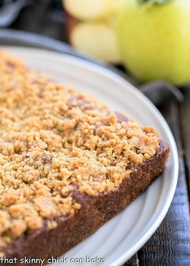 Apple Streusel Coffeecake on a serving platter