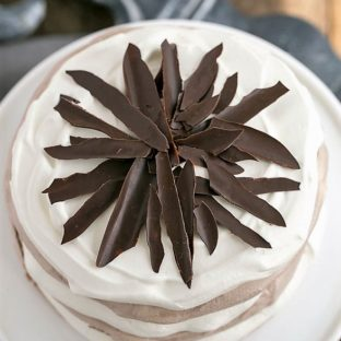 Overhead view of Layered Chocolate Meringue Cake