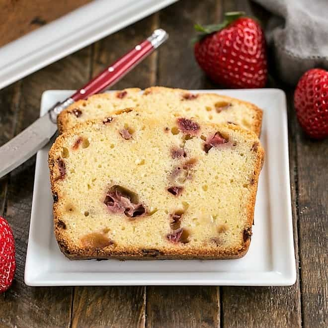 Fresh Strawberry Pound Cake slices