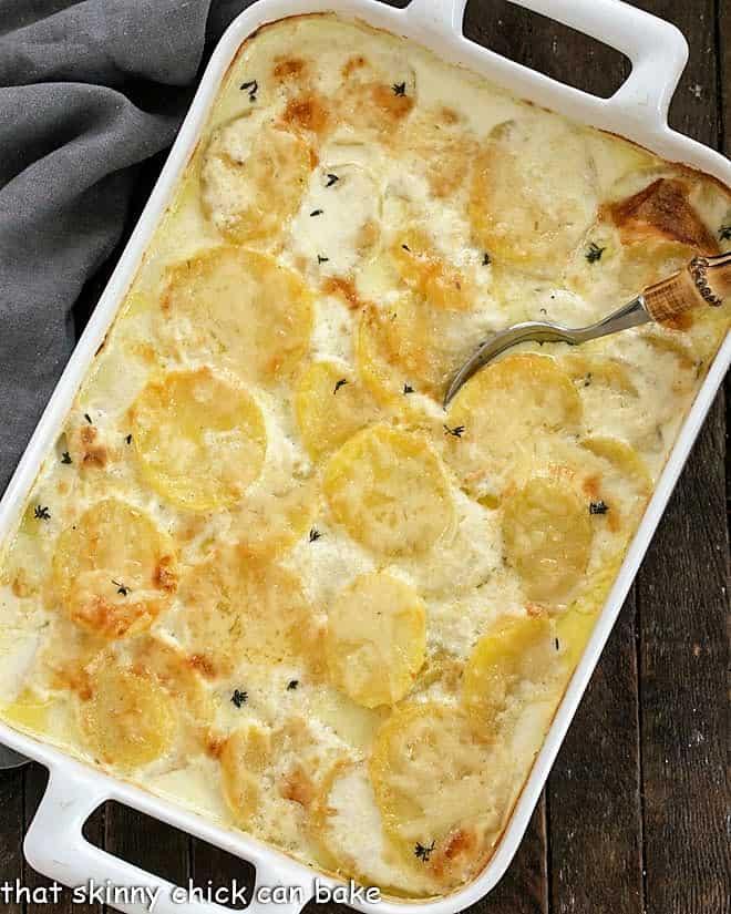 Scalloped Potatoes recipe in a white baking dish