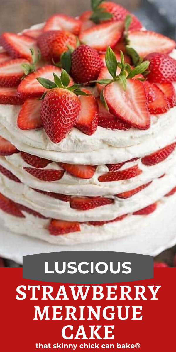 strawberry meringue cake photo and text collage