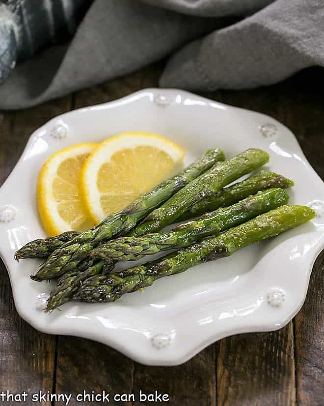 Easy Oven Roasted Asparagus on a white octagonal plate