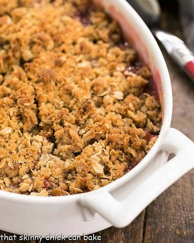 Close view of rhubarb crisp topping
