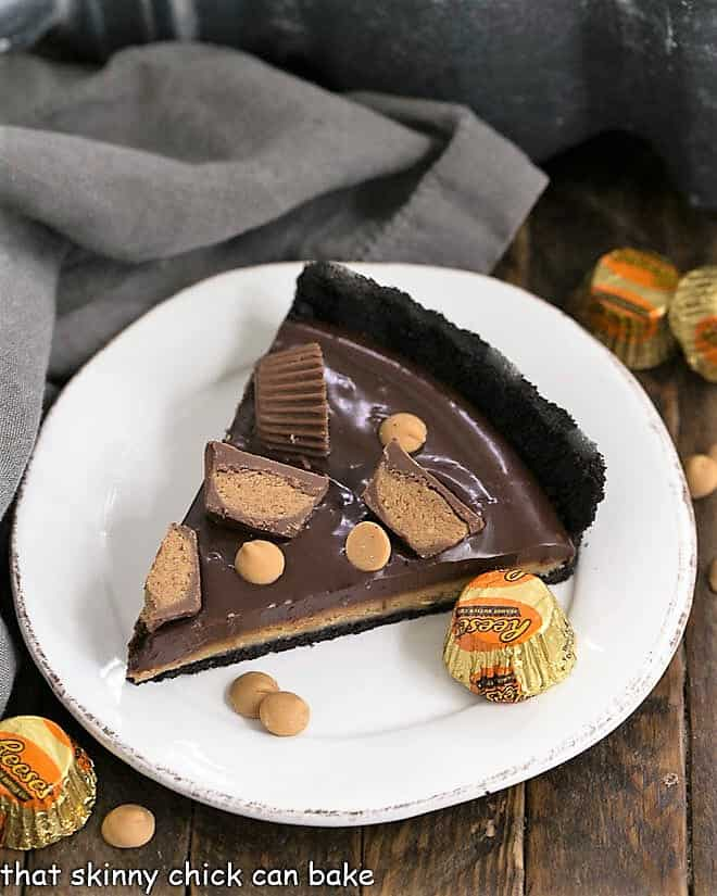 Slice of Reese's Peanut Butter Pie on a round white plate