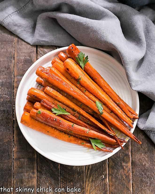 Honey Balsamic Roasted Carrots on a white ceramic plate