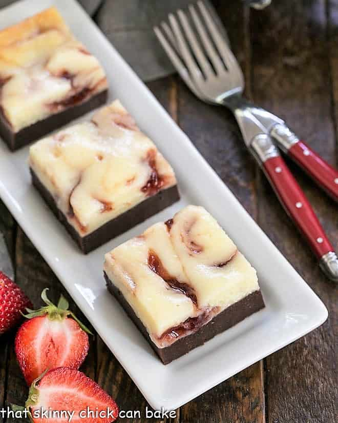 overhead view of Strawberry brownies on a white tray