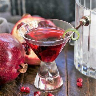 Pomegranate Cosmopolitan Cocktail in a martini glass