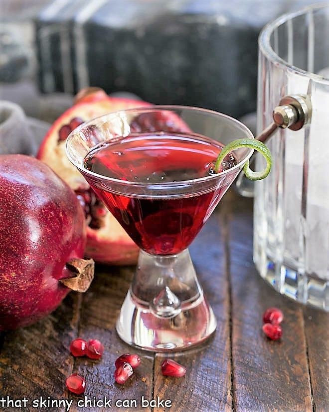 Pomegranate Cosmopolitan Cocktail in a martini glass