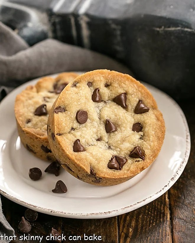 Two Chocolate Chip Cookie Bars for One on a white dessert plate