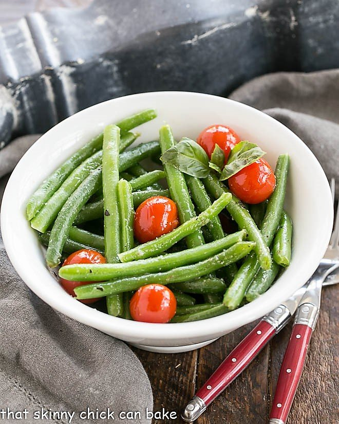 Overhead view of Italian Sauteed Green Beans in a whitebow