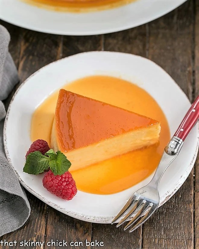 Overhead view of Cream Cheese Caramel Flan Slice in caramel sauce