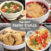 Pantry recipes images and text collage