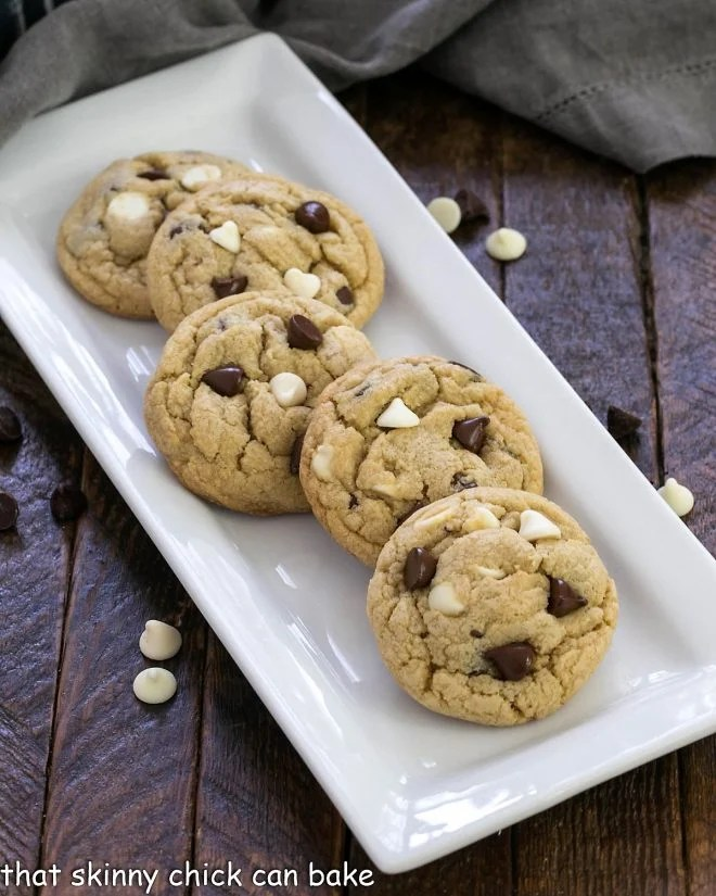 Pudding cookies on a white ceramic tray