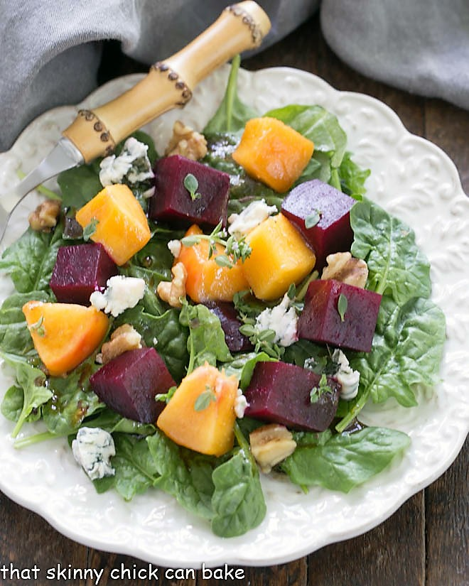 Close overhead view of  Beet Salad Recipe with Peaches and a flavorful beet salad dressing with honey and Dijon