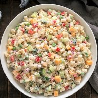 Overhead view of easy pasta salad recipe