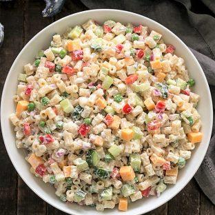 Overhead view of easy pasta salad recipe