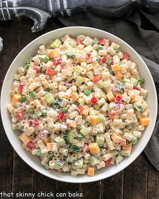 Overhead view of Vegetarian Pasta Salad