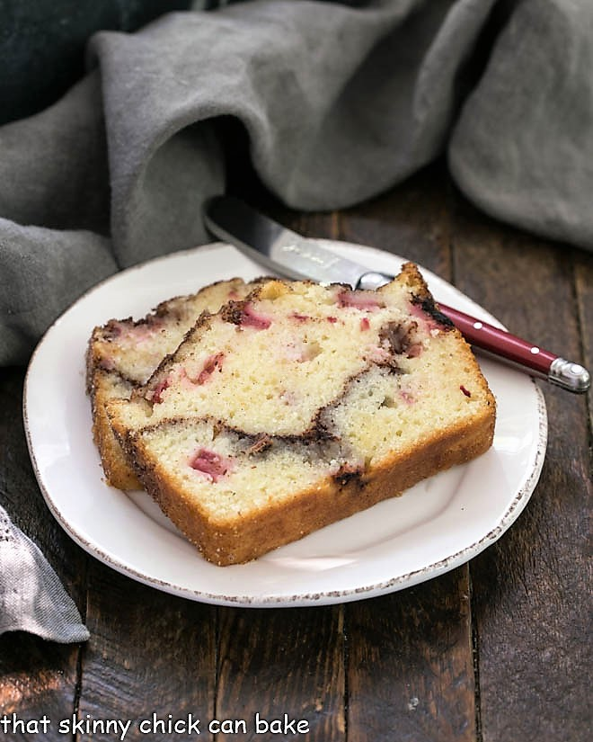 2 slices of rhubarb bread on a round plate