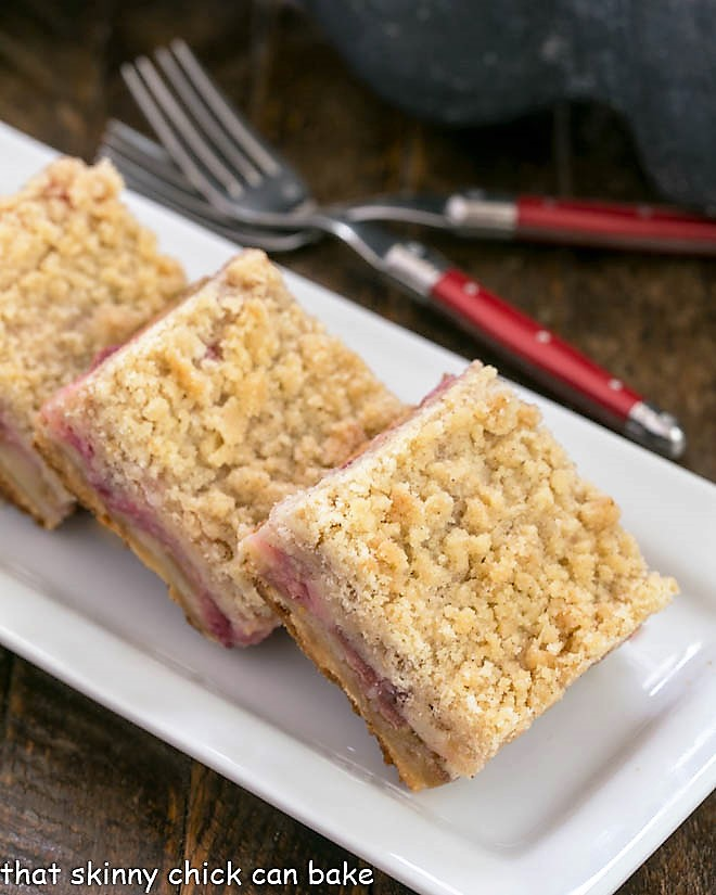 Streusel Topped Rhubarb on a white tray Bars