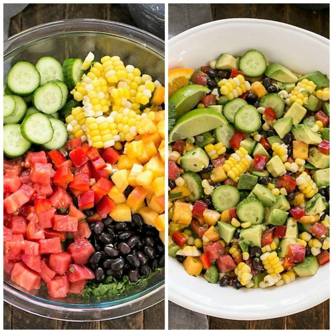 Chopped salad collage of ingredients in a bowl and finished salad in a bowl