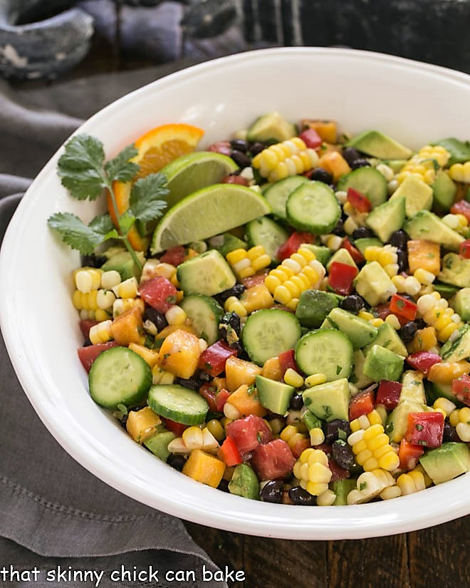 Overhead view of Southwest chopped salad in a large white serving bowl