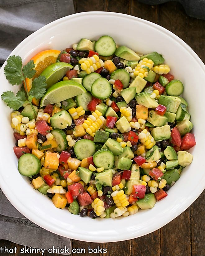 Overhead view of loaded black bean salad