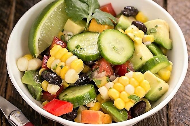 Small white bowl of black bean and corn salad