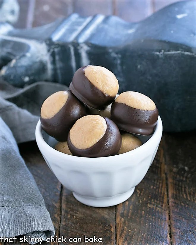 Peanut Butter Balls in a white bowl
