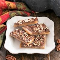 English toffee on a square white plate