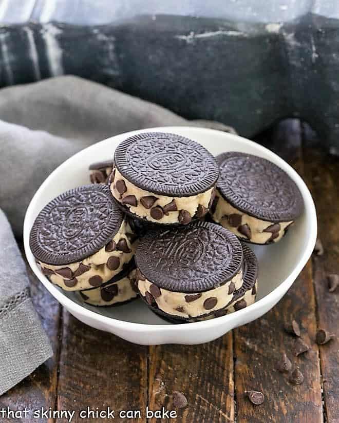 Oreo Cookie Dough Treats in a white bowl