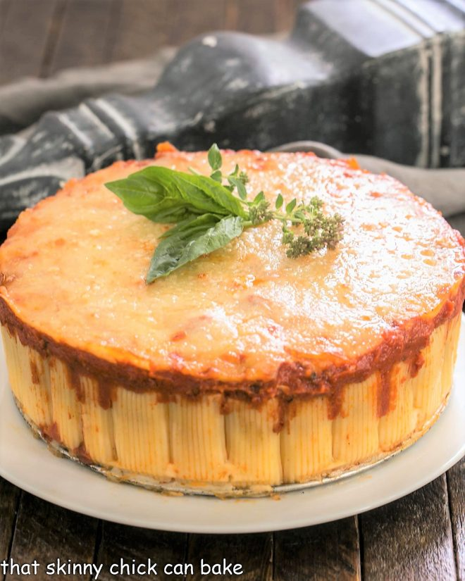 Rigatoni Bake on a white serving plate