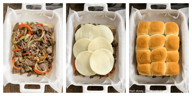 Philly Cheesecake Sliders Process shots