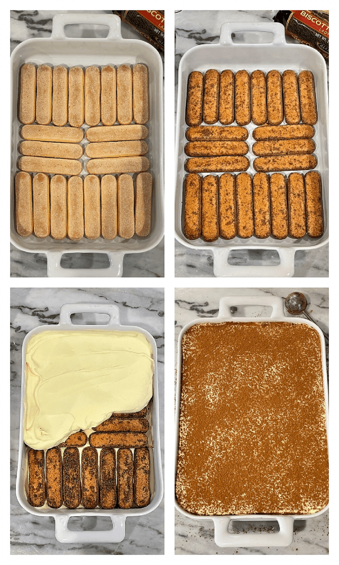 4 photos of layering tiramisu recipe components