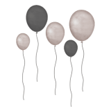 Grey brown Balloons - Wall stories ThatsMine