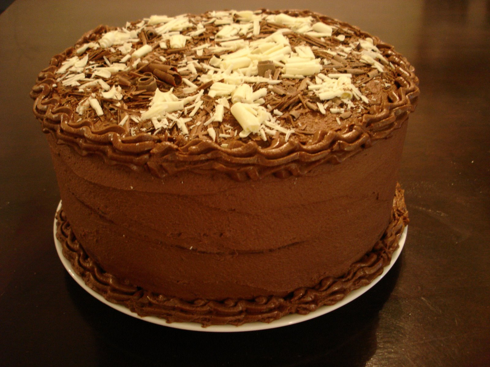This Chocolate Cake Is 3 Layers Dark Milk And White Filled With Mouse