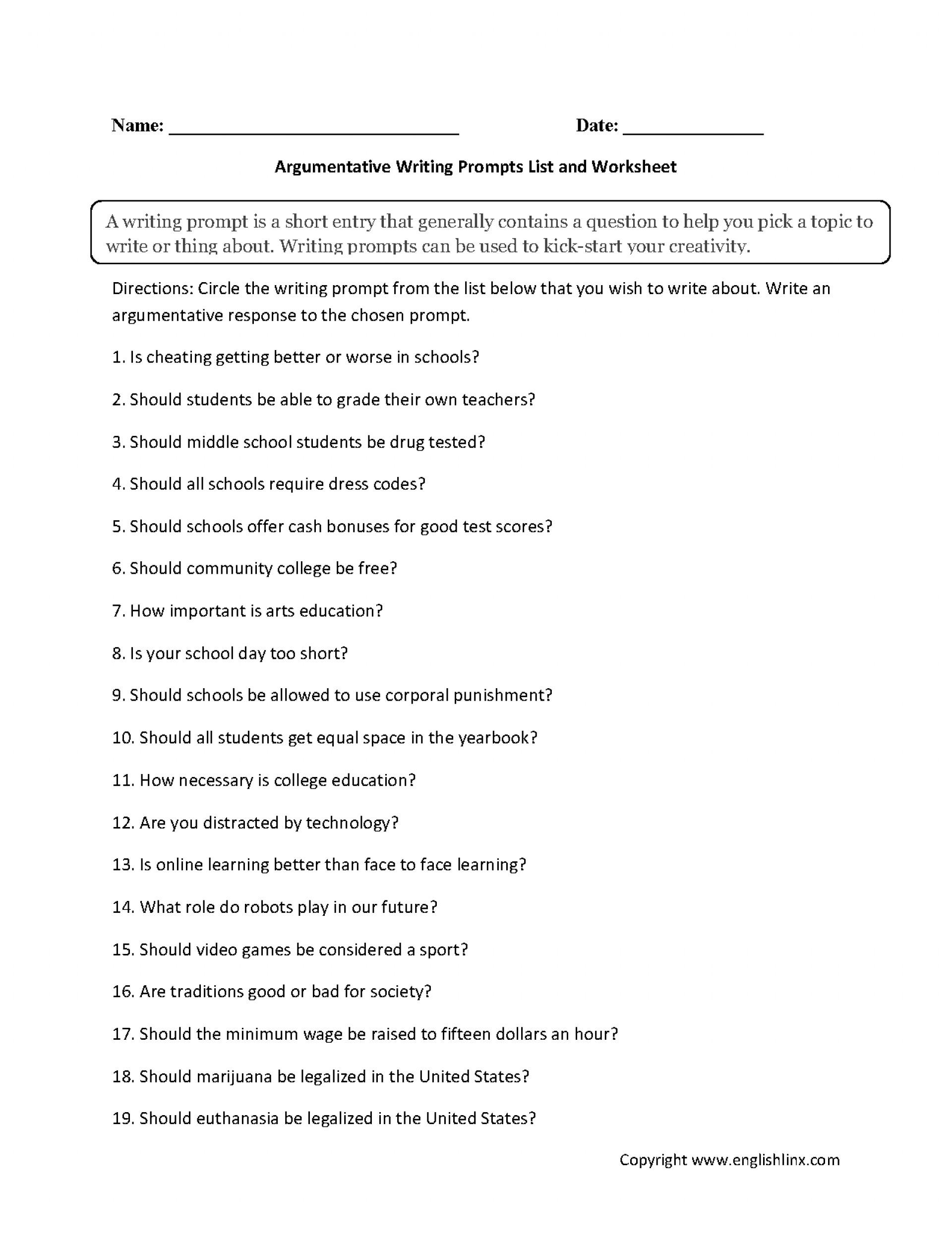 019 6th Grade Argumentative Essay Topics Buses Or Cars