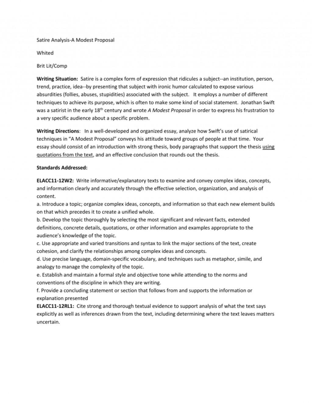 Astounding A Modest Proposal Essay Thatsnotus