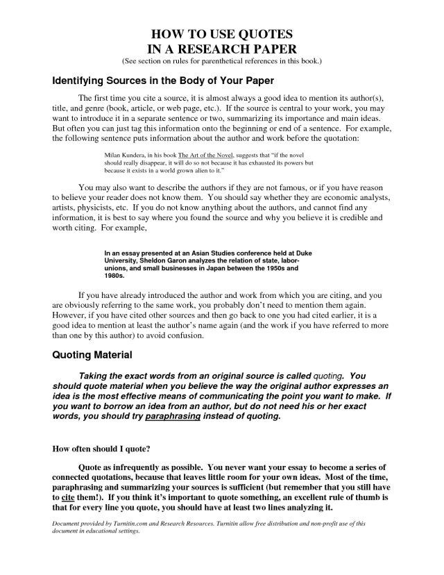 How To Use Quotes In An Essay Examples   Applydocoument co