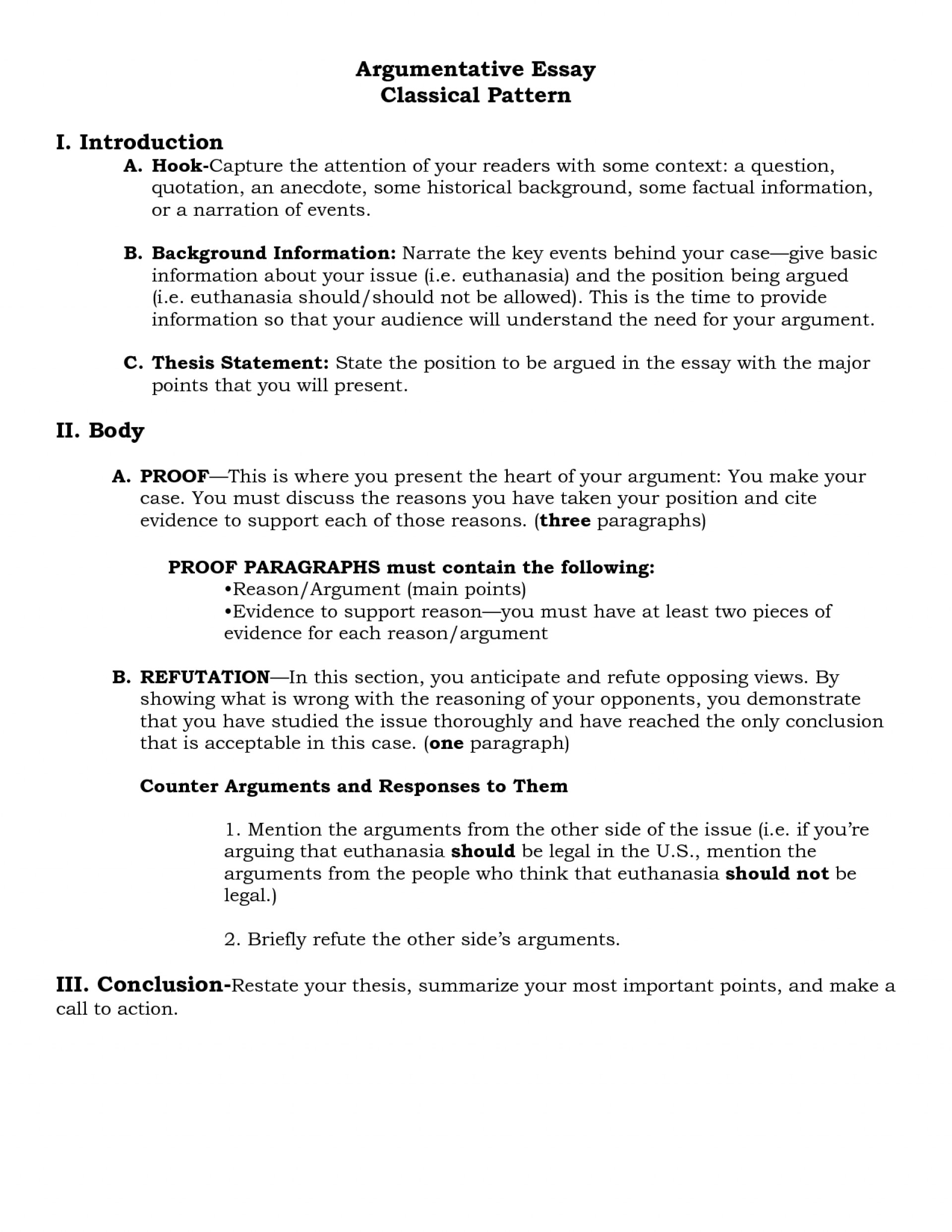 001 Argumentative Essay Format Example Outline Oracleboss
