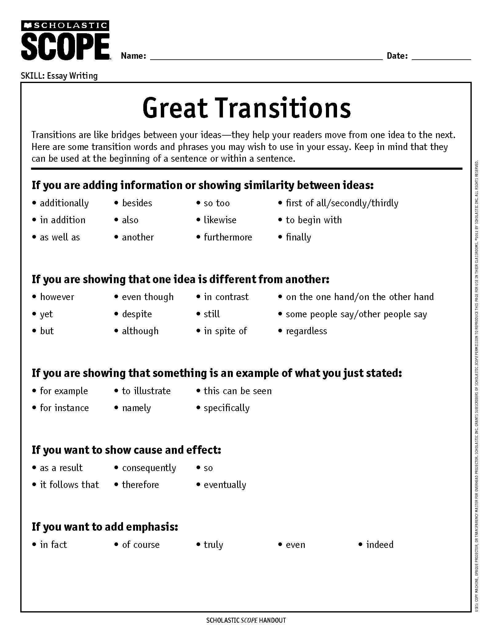 024 Transition Words Essay Example In Thatsnotus