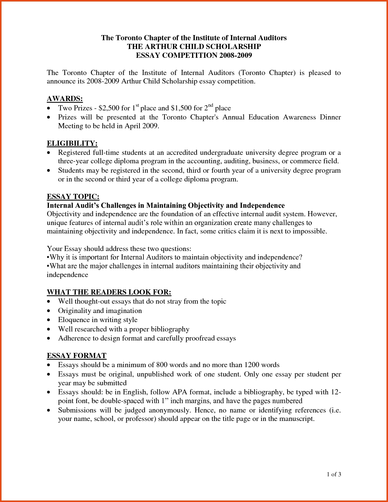 Essay Format With Subheadings
