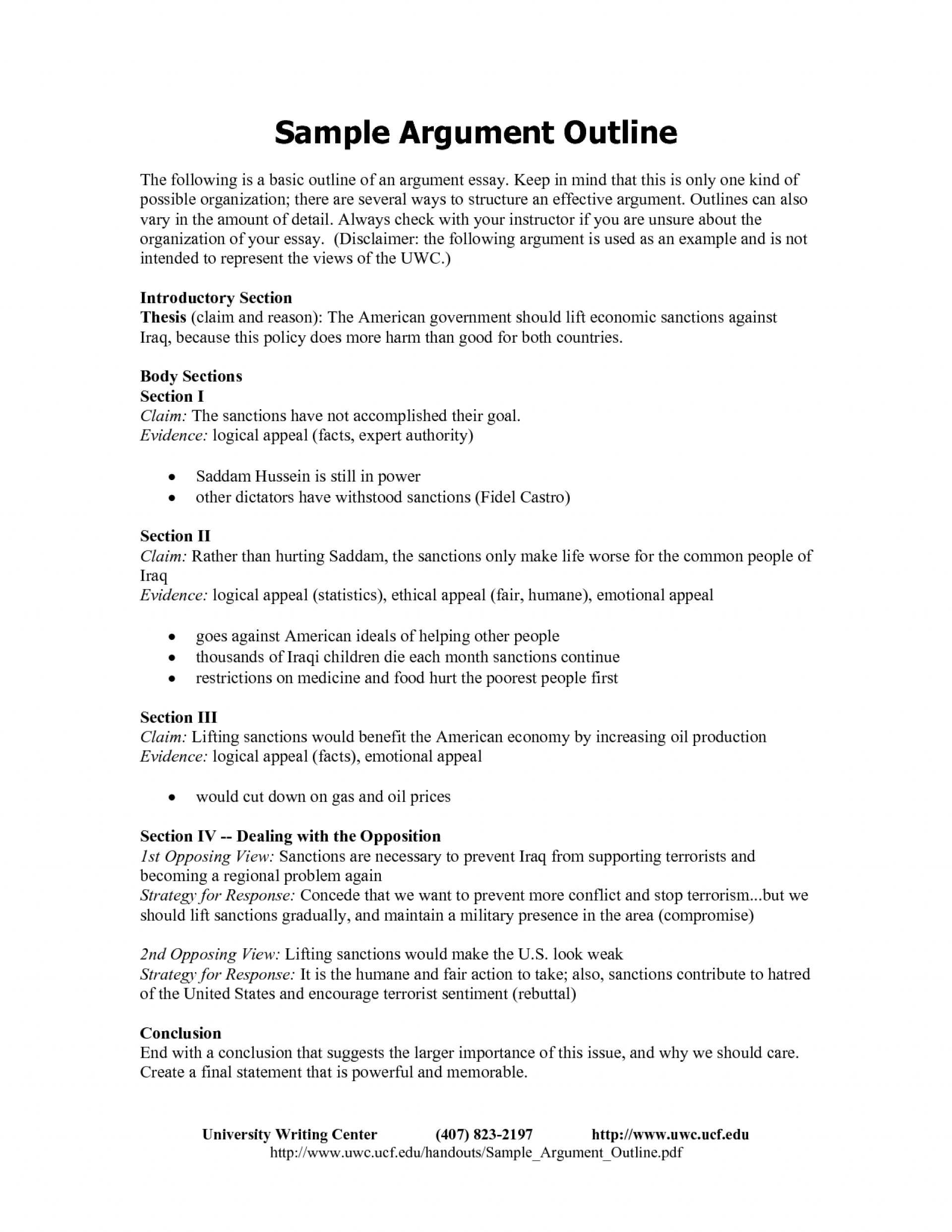 003 Argument Essay Outline Format Research An