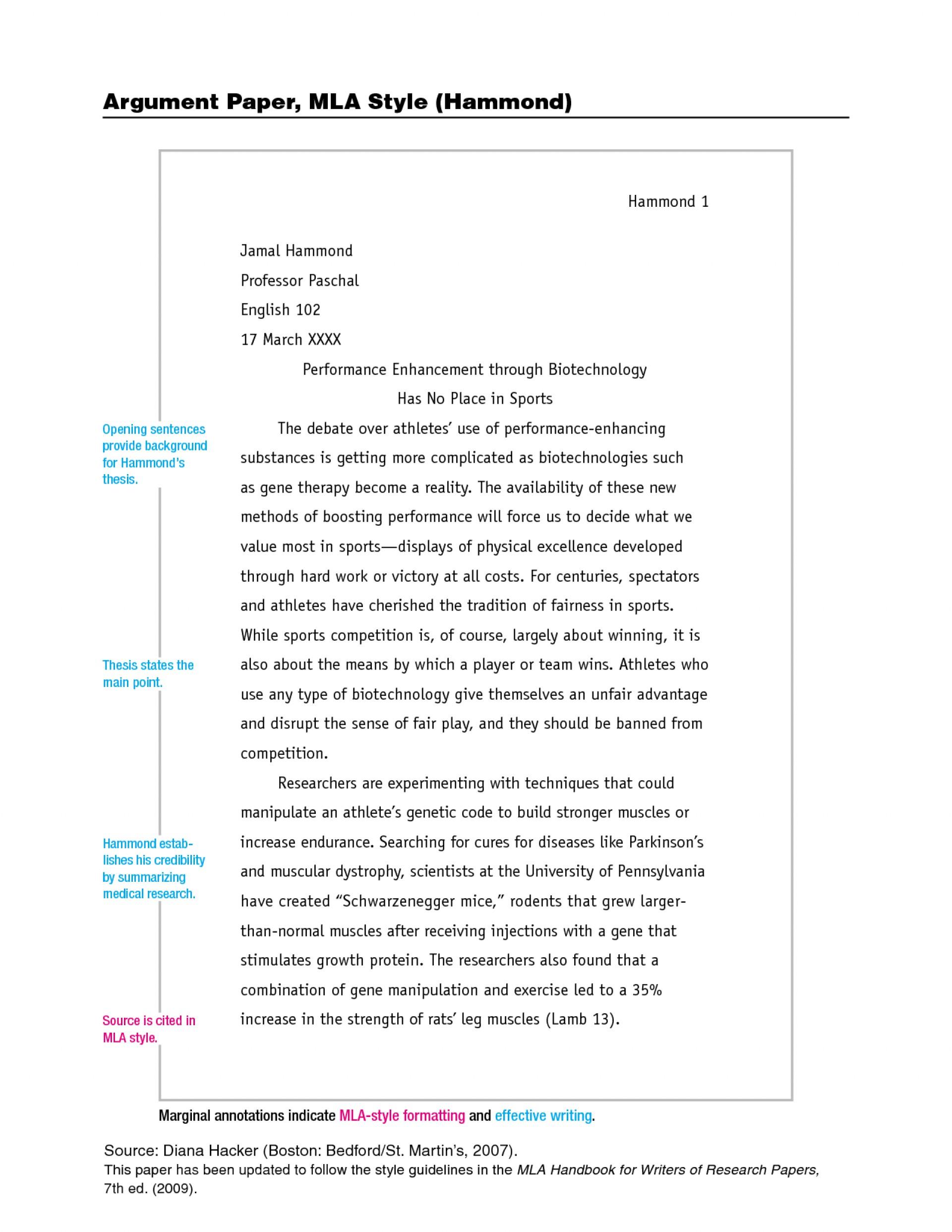 011 Mla Format Argumentative Essay Example Variant