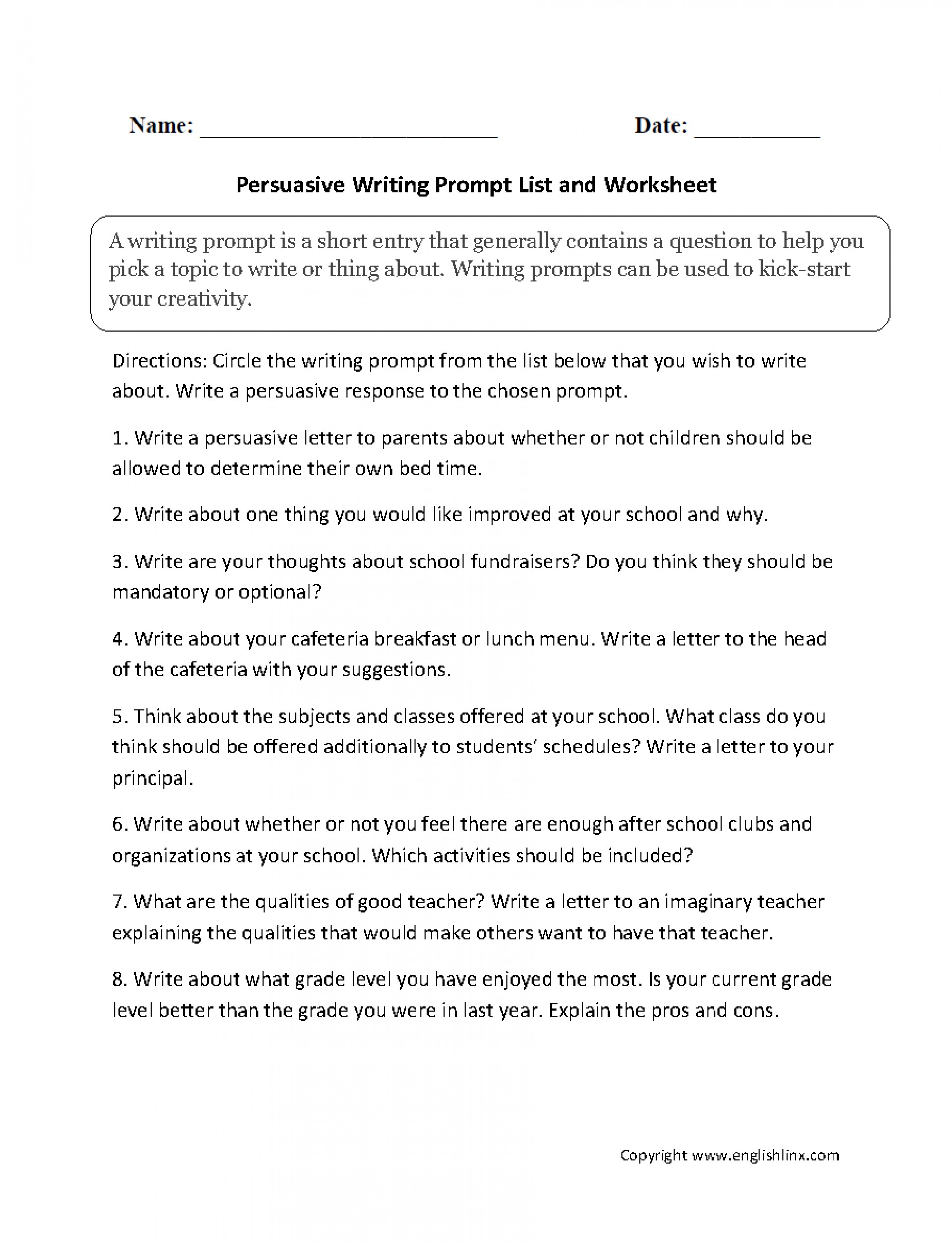 015 Persuasive Essay Prompts Example High School Common