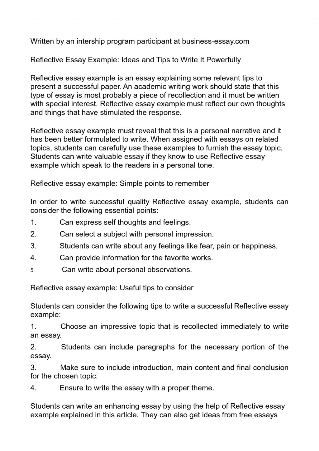 002 Reflective Essay Definition Samples Self Reflections